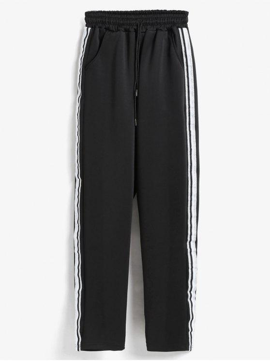 latest Side Stripe Training Joggers Pants - BLACK L