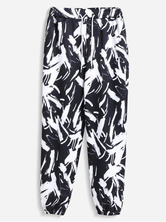 fashion Printed Joggers Pants - BLACK ONE SIZE