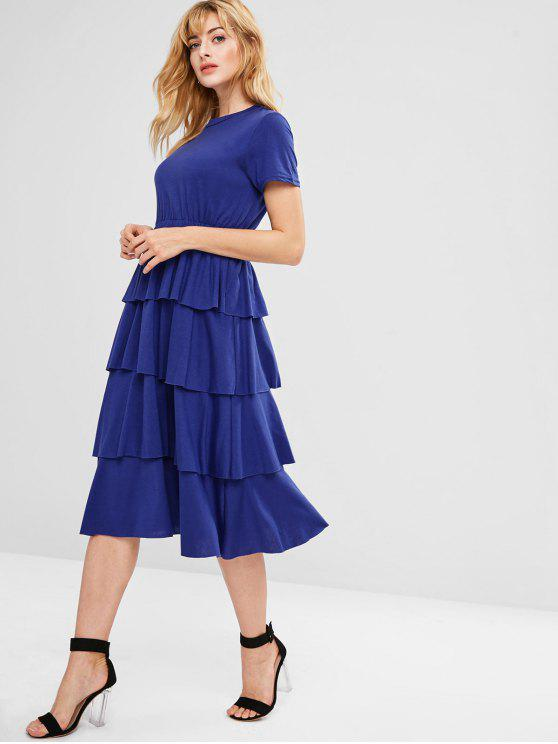 chic Ruffles Tiered Midi Dress - BLUE L