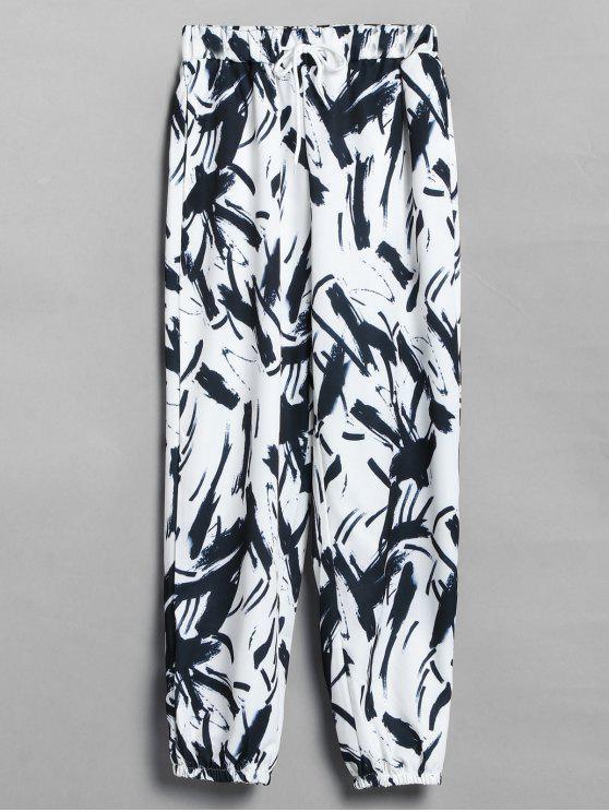 Pantalon de Jogging Imprimé - Blanc Taille Unique