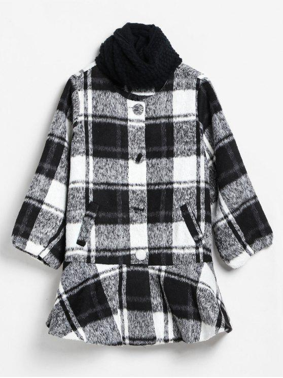 women Checked Ruffle Hem Faux Wool Coat and Scarf - MULTI S