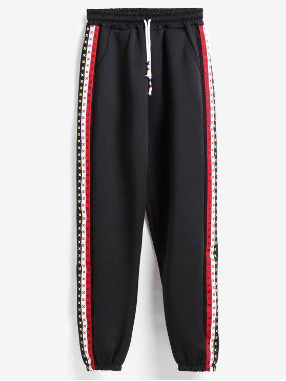 online Side Stripe Tracksuit Bottoms Joggers Pants - BLACK XL