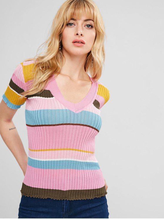 7f275010a 29% OFF  2019 V Neck Colorful Stripes Sweater In MULTI