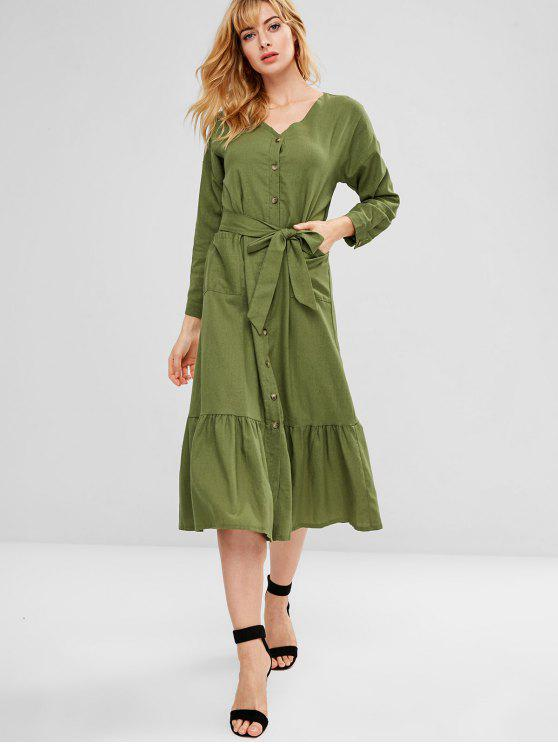 women's Belted Patch Pocket Button Through Midi Dress - ARMY GREEN S