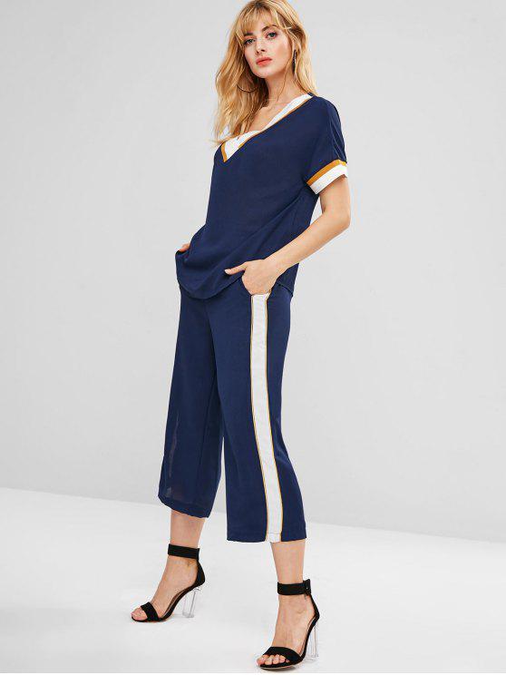 shops Contrats Stripe Top Wide Leg Pants Co Ord Set - MIDNIGHT BLUE M
