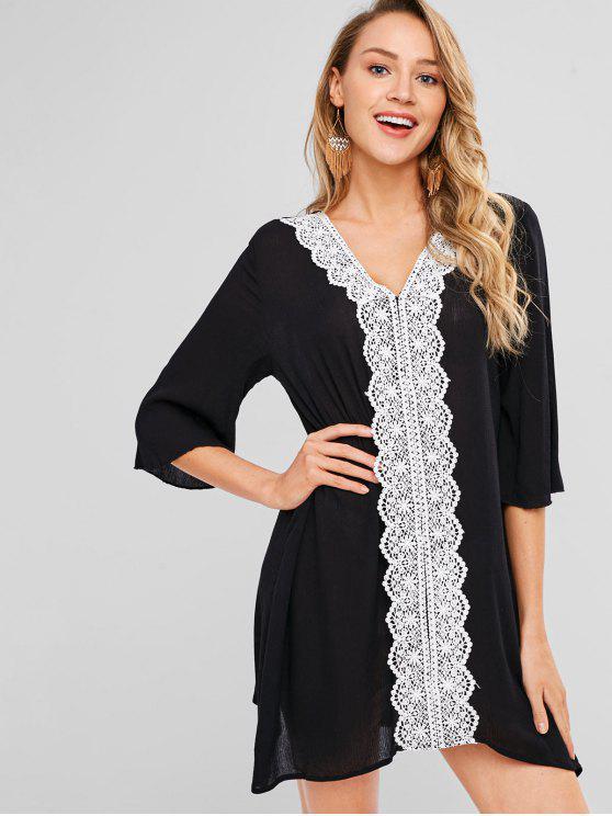 fashion Lace Applique Shift Dress - BLACK M