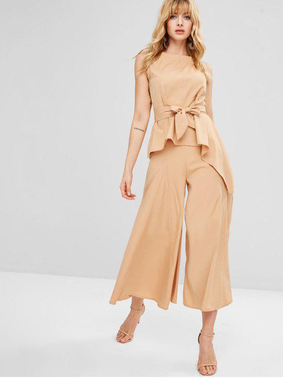 women's Asymmetrical Top and Flare Pants Co Ord Set - CAMEL BROWN L