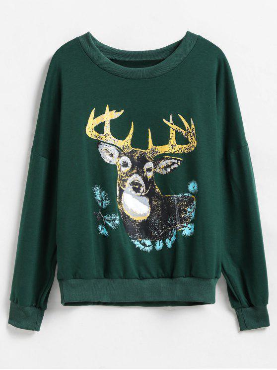 online Deer Graphic Front Drop Shoulder Christmas Sweatshirt - DEEP GREEN S