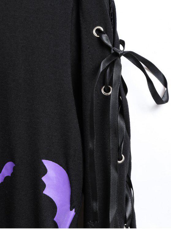 À shirt LacetsNoir M Imprimé D'halloween Chauve T souris Manches Y6Ibgf7yv