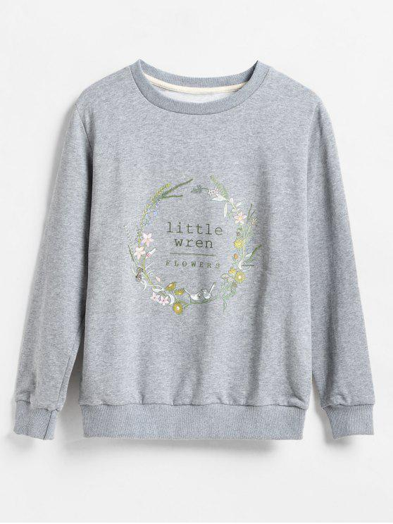 online Floral Garland Print Pullover Sweatshirt - GRAY S