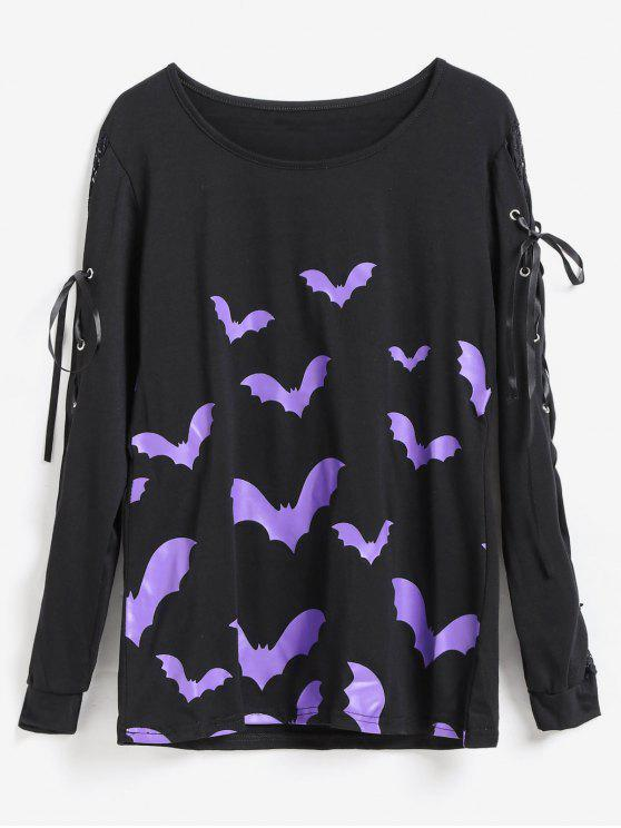 hot Batwing Print Lace Up Sleeve Halloween Tee - BLACK S