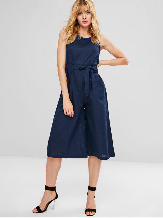 best Belted Wide Leg Patch Pocket Jumpsuit - DEEP BLUE XL