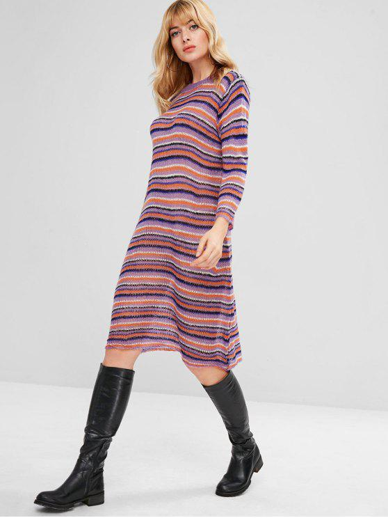 c7a93a89e987 33% OFF] 2019 Knee Length Shift Striped Sweater Dress In MULTI | ZAFUL