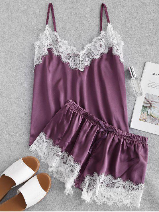 best Contrast Lace Satin Cami Pajama Set - DARK ORCHID L
