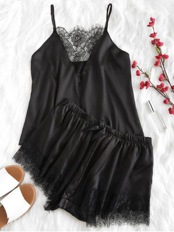 chic Lace Plunge Cami Top and Shorts Pajama Set - BLACK M