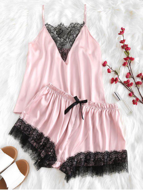 fashion Lace Plunge Cami Top and Shorts Pajama Set - LIGHT PINK M