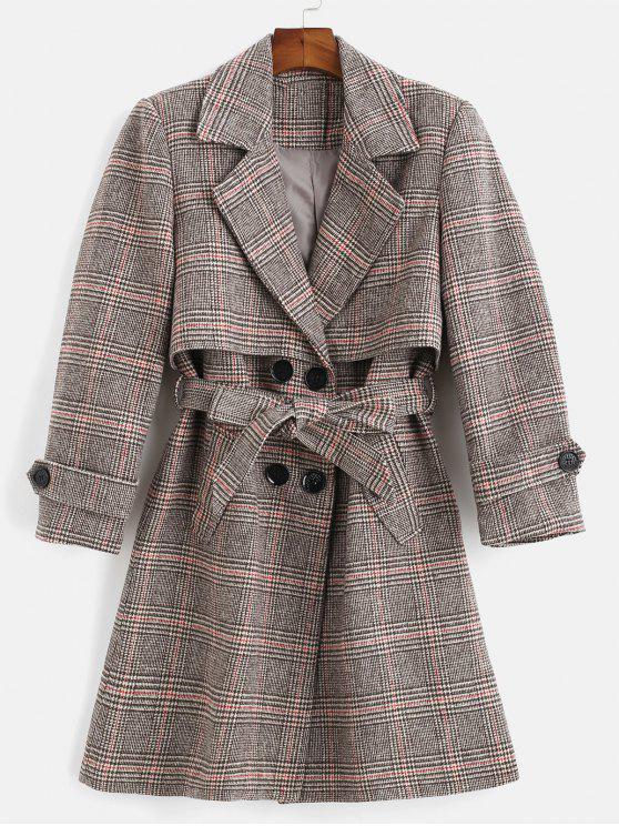 unique Belted Plaid Lapel Coat - MULTI M