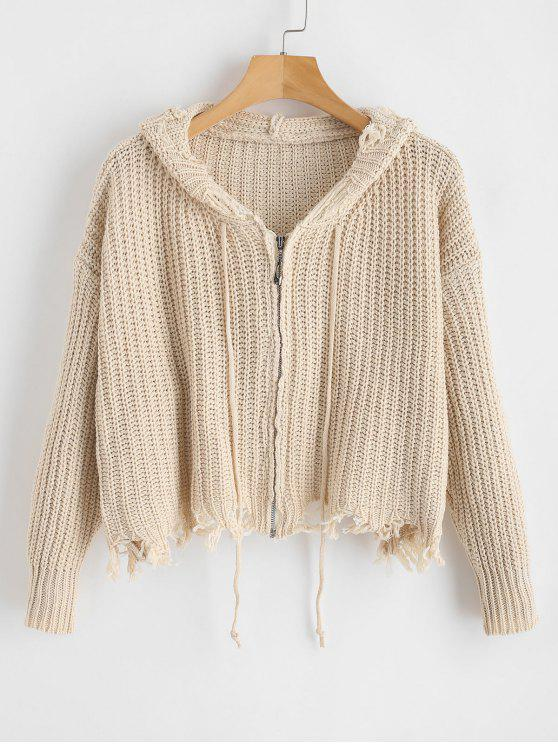 fancy Frayed Distressed Zip Up Cardigan - CHAMPAGNE ONE SIZE