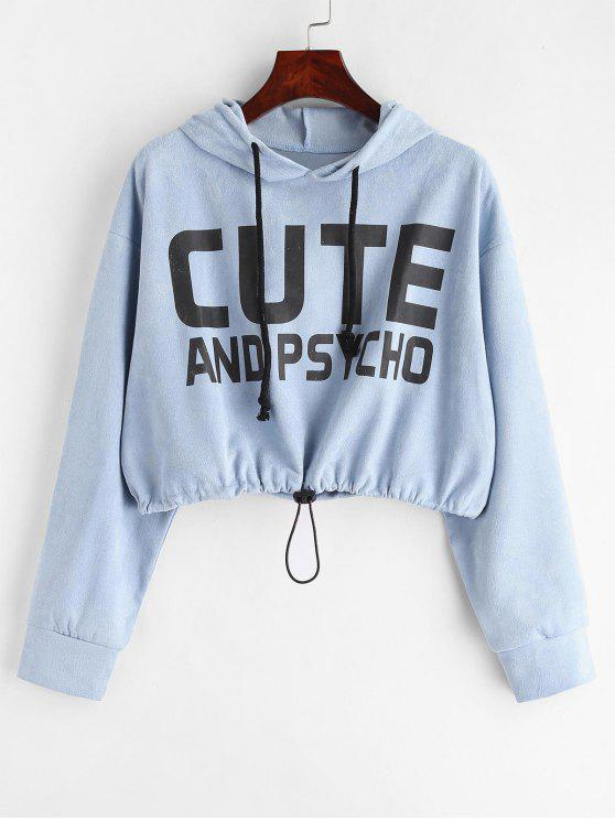 affordable Letter Faux Suede Crop Hoodie - DAY SKY BLUE M