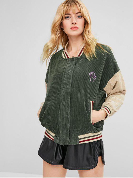 fashion Embroidered Striped Color Block Corduroy Jacket - FERN GREEN L
