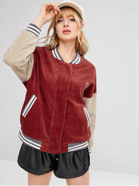 new Embroidered Striped Color Block Corduroy Jacket - CHERRY RED S