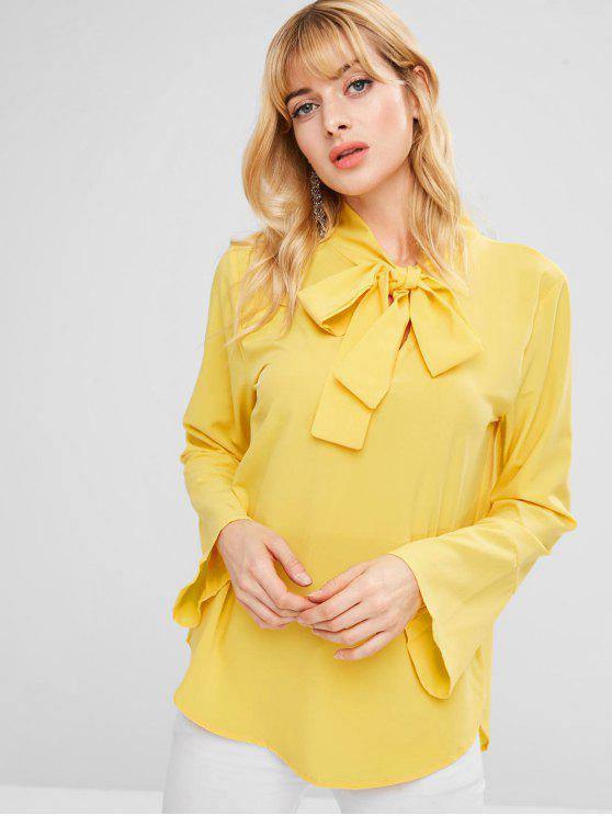hot Bow Tie Neck Bell Sleeve Blouse - RUBBER DUCKY YELLOW S
