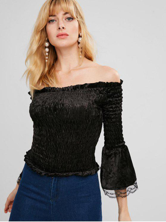 womens Smocked Velvet Off Shoulder Blouse - BLACK M