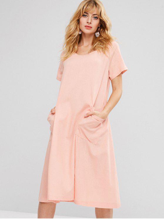 sale Patch Pockets Woven Midi Dress - PINK L