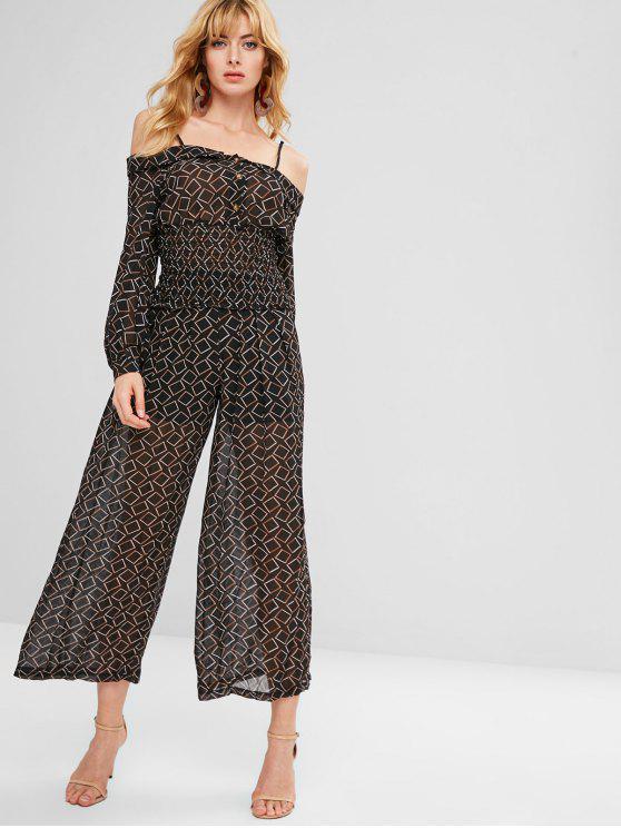 online Checked Blouse Wide Leg Pants Co Ord Set - BLACK L
