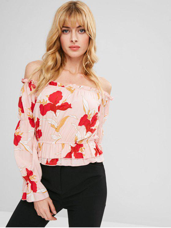 outfits ZAFUL Off Shoulder Ruffled Print Blouse - MULTI L