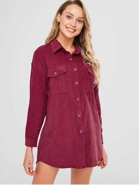 online ZAFUL Button Up Front Pockets Shirt Dress - RED ONE SIZE