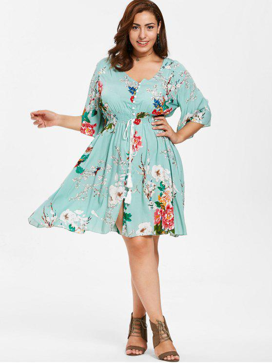 35% OFF] 2019 Floral Shirred Waist Plus Size Dress In LIGHT CYAN | ZAFUL