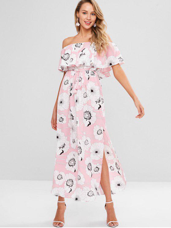 ladies Convertible Collar Side Split Flounce Dress - MULTI S