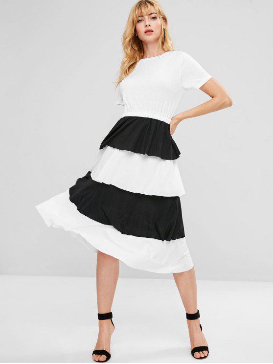 unique Ruffles Tiered Midi Dress - WHITE L
