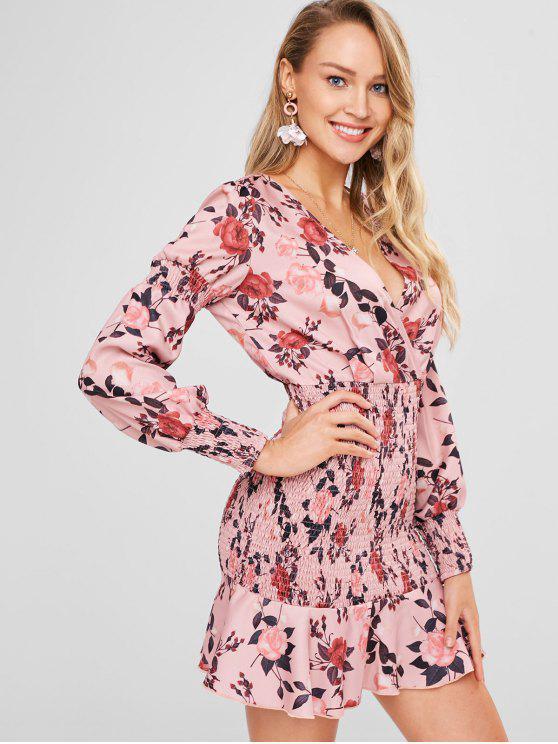 women Shirred Floral Dress - MULTI L