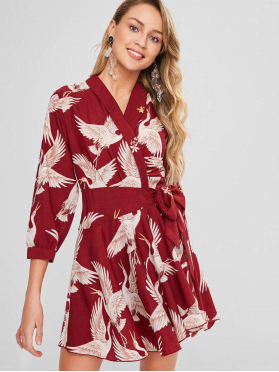 fashion Birds Print Wrap Dress - FIREBRICK L