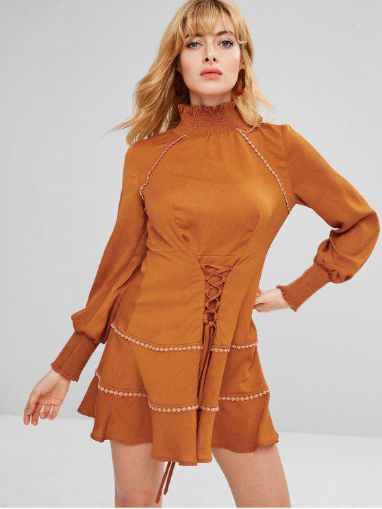 women's ZAFUL Lace-up Long Sleeve Flounce Dress - LIGHT BROWN L