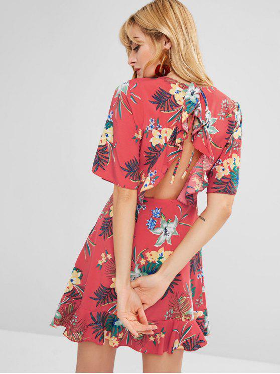 chic ZAFUL Floral Cut Out Ruffles Mini Dress - MULTI S