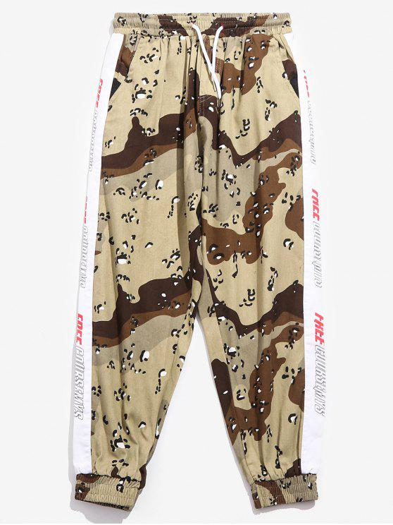 79066a2eeae2b3 26% OFF] 2019 Side Letter Striped Camo Jogger Pants In LIGHT KHAKI ...