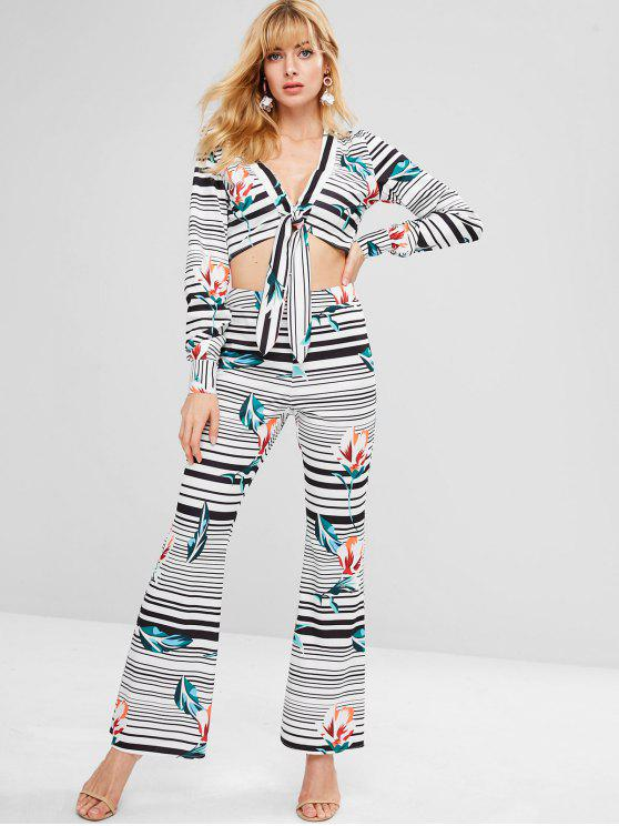lady ZAFUL Striped Plunge Top and Flare Pants Set - MULTI XL