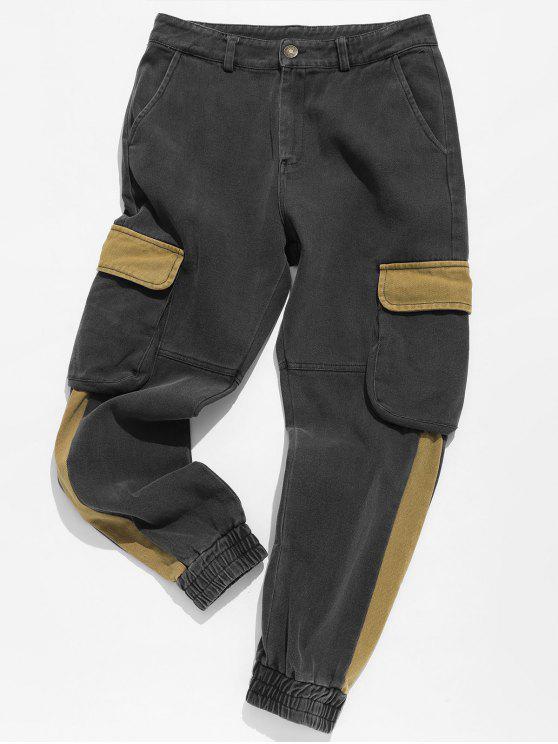 Pantaloni A Contrasto Con Polsino Elastico - Biscotto marrone L