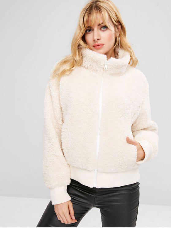 best ZAFUL Zip Up Fluffy Faux Shearling Winter Coat - WHITE L