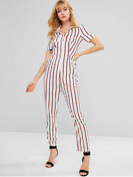womens ZAFUL Pockets Striped Shirt Jumpsuit - CHESTNUT RED L
