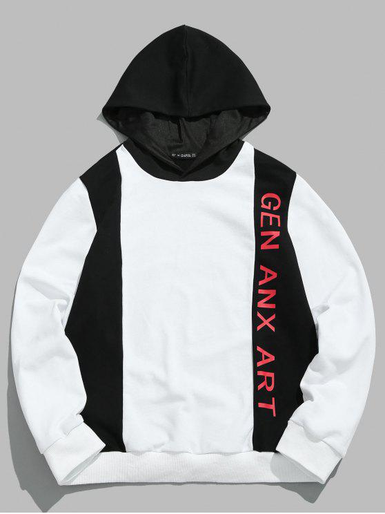 trendy ZAFUL Letter Color Block Patchwork Hoodie - WHITE L