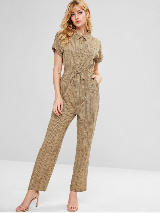 affordable ZAFUL Cuffed Sleeves Plaid Shirt Jumpsuit - MULTI M