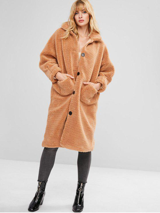 ladies ZAFUL Fluffy Textured Faux Shearling Winter Coat - BROWN M