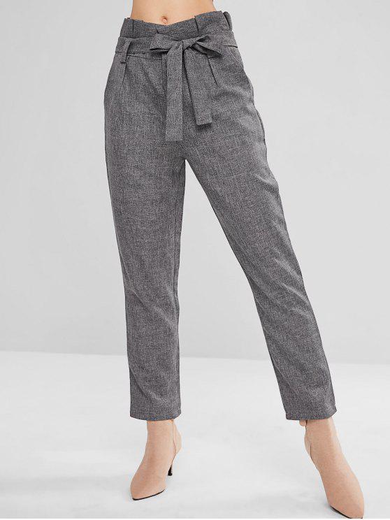 ladies ZAFUL High Waist Belted Straight Pants - DARK GRAY XL