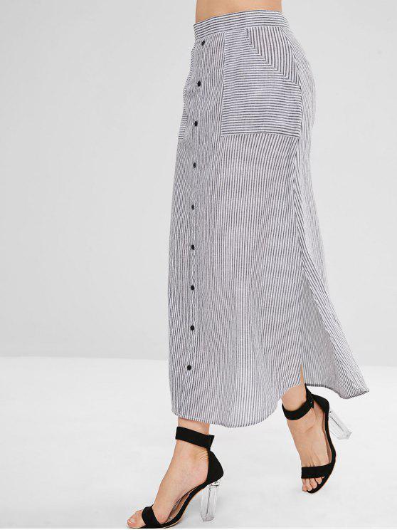 trendy ZAFUL Slit Striped Long Pocket Skirt - GRAY S