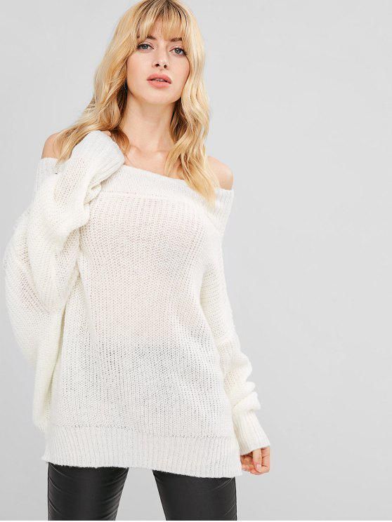 ladies Chunky Knit Loose Fit Sweater - WHITE ONE SIZE