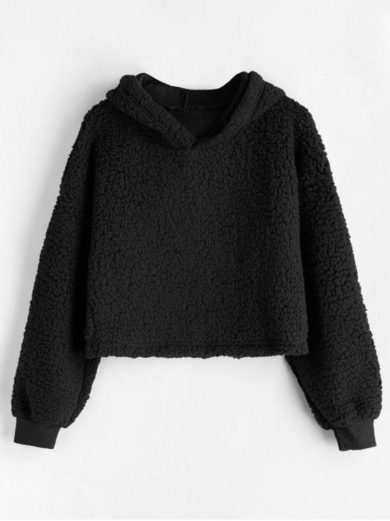 affordable Drop Shoulder Fluffy Boxy Hoodie - BLACK M
